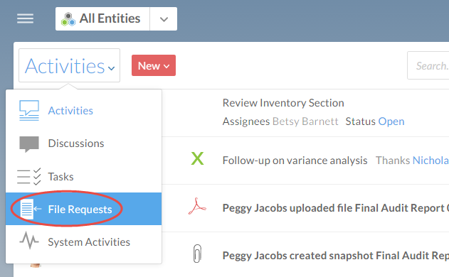 Select File Requests from the Activities menu