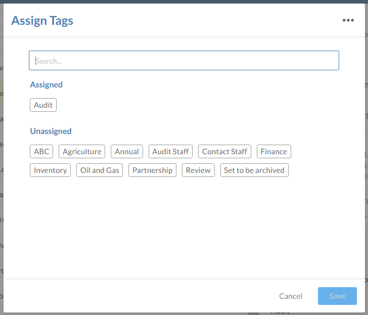 The Assign Tags dialog