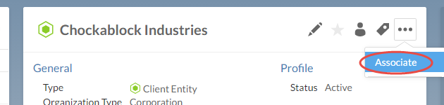 Select the Associate button from the Entity's menu to begin creating an association