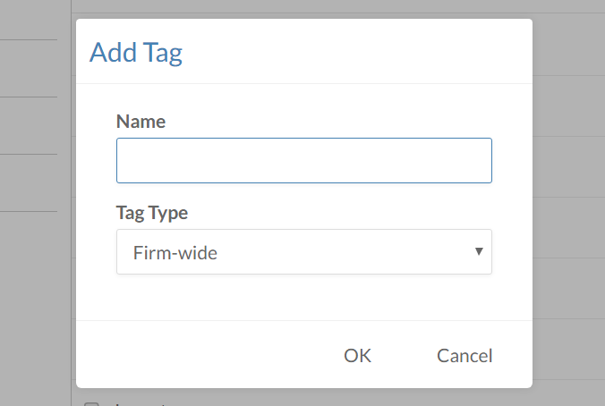 The Add Tag dialog from the Tag Management page