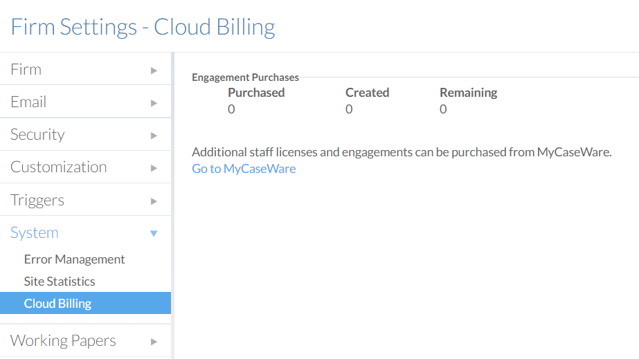 The Cloud Billing section of the Settings page.