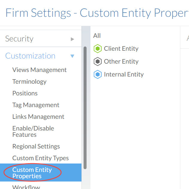 The Custom Entity Properties section of the Settings page.