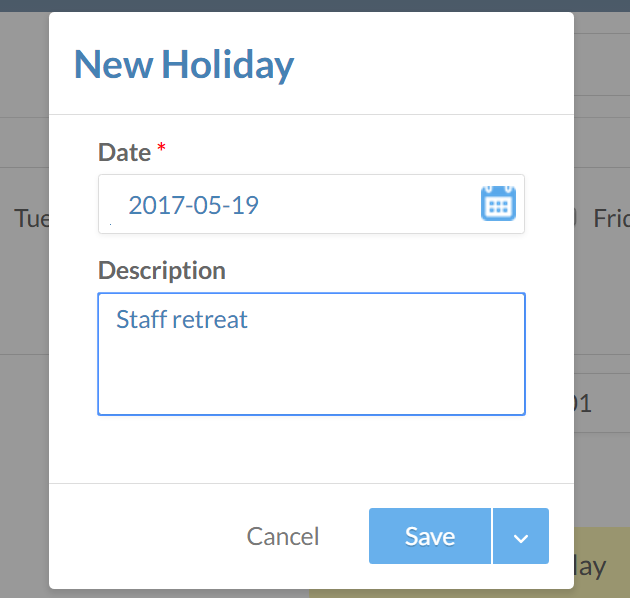 The New Holiday section of the Settings page.