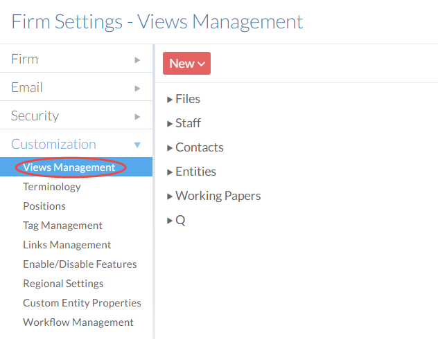 View Management from the Customization drop-down menu