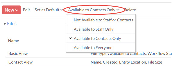 Set view access - Available to contacts only option