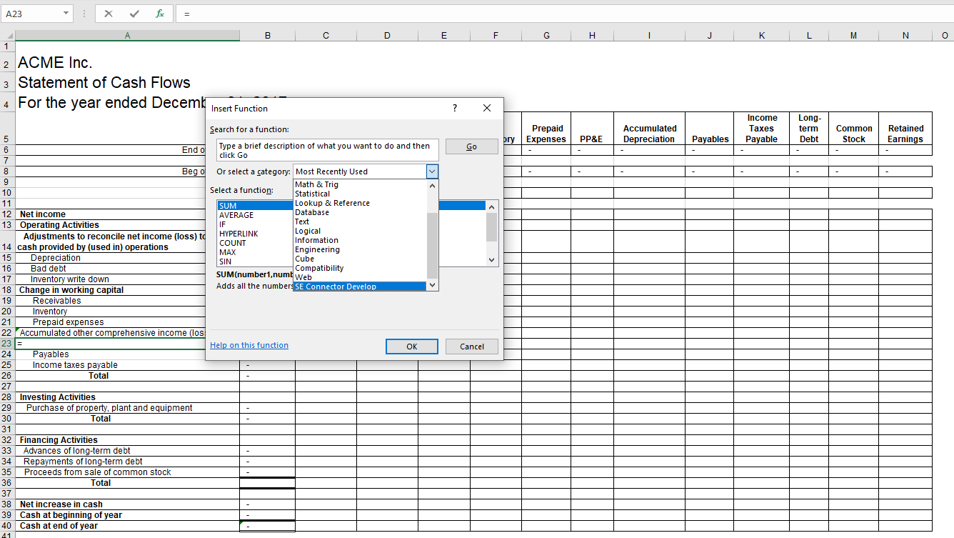 Insert data using MS Excel formula dialog with CaseWare Cloud ...