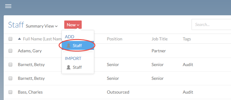 Add individual users from the staff or contacts page