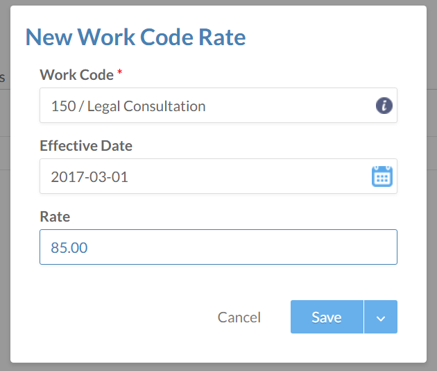 The New Work Code rate dialog