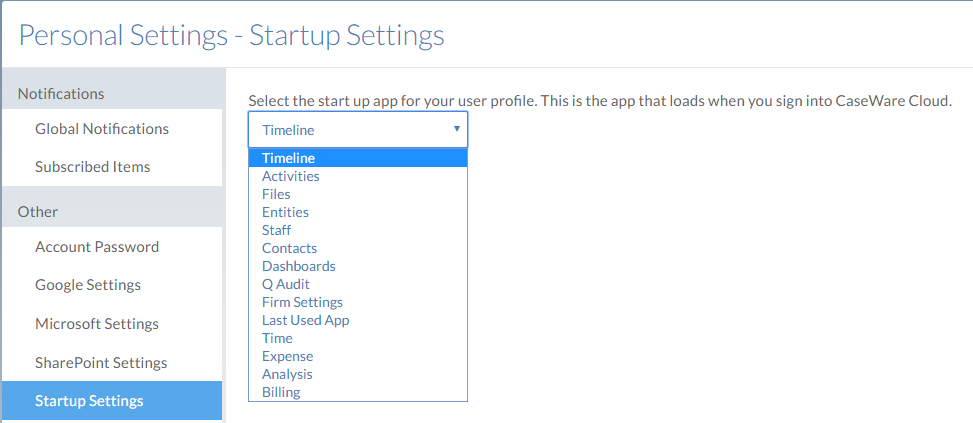 The Startup settings page.