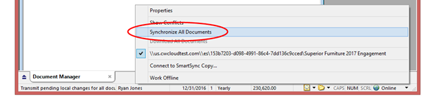 Synchronize all your documents to publish your changes to the parent copy on Cloud, and to receive any changes that have been made to the parent copy.