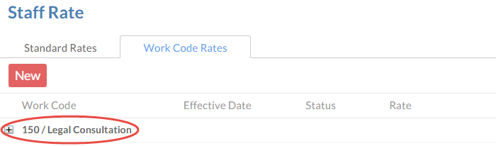 New work codes can be seen in a suer's Staff Rate dialog