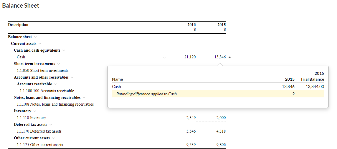 Account Details popup showing rounding information in financial statements
