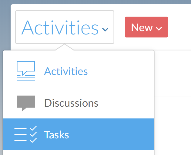 The Activities menu with Tasks highlighted.