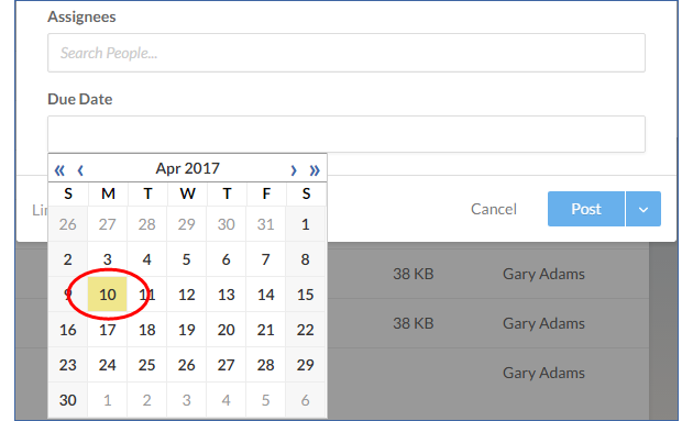 Select the due date from the calendar box.