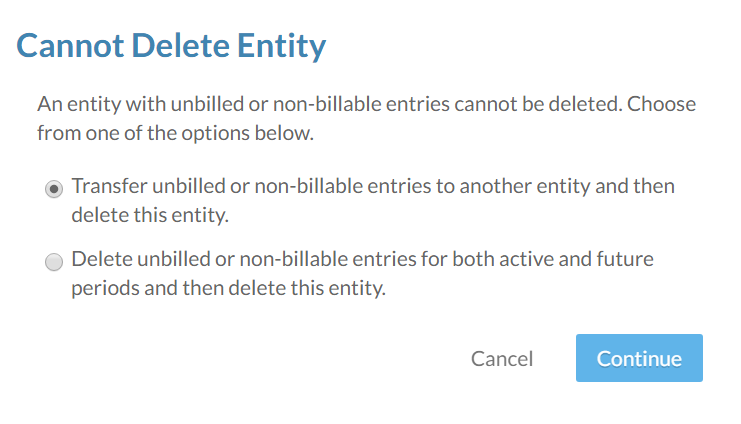 The Cannot Delete Entity dialog.