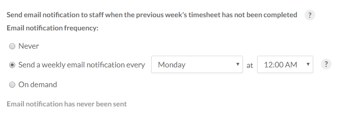 "Email notification options set to ""Send a weekly email notification every Monday at 12:00 AM"