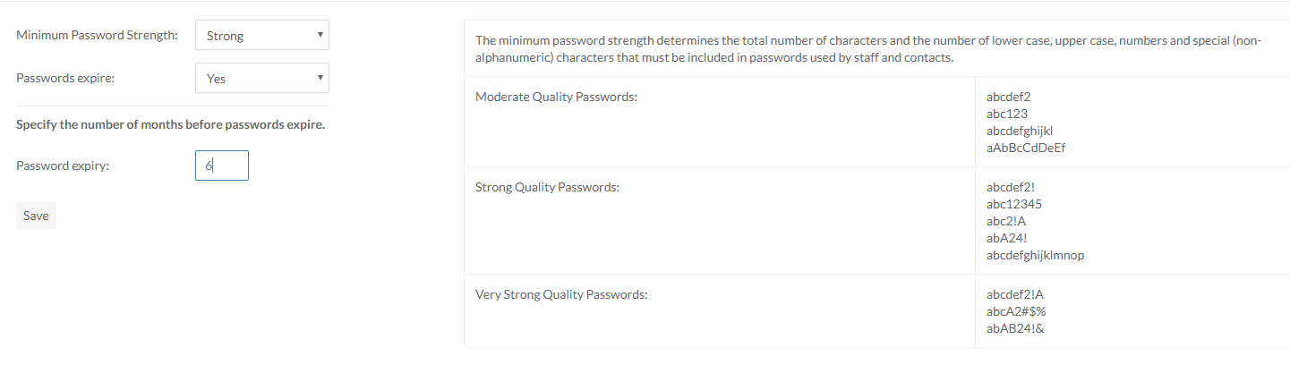 Password options displayed on the Settings page.