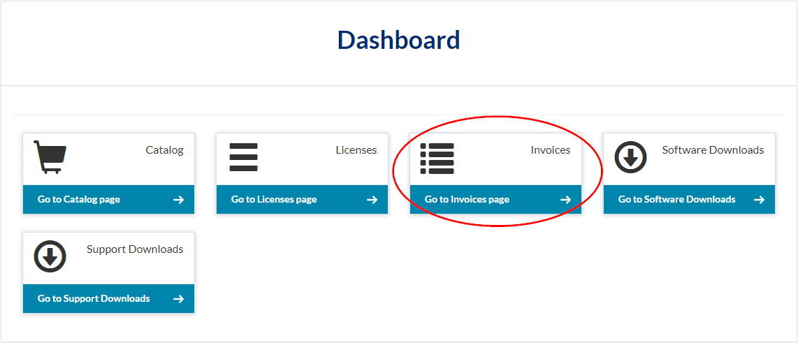Option to go to the Invoices page in the Dashboard