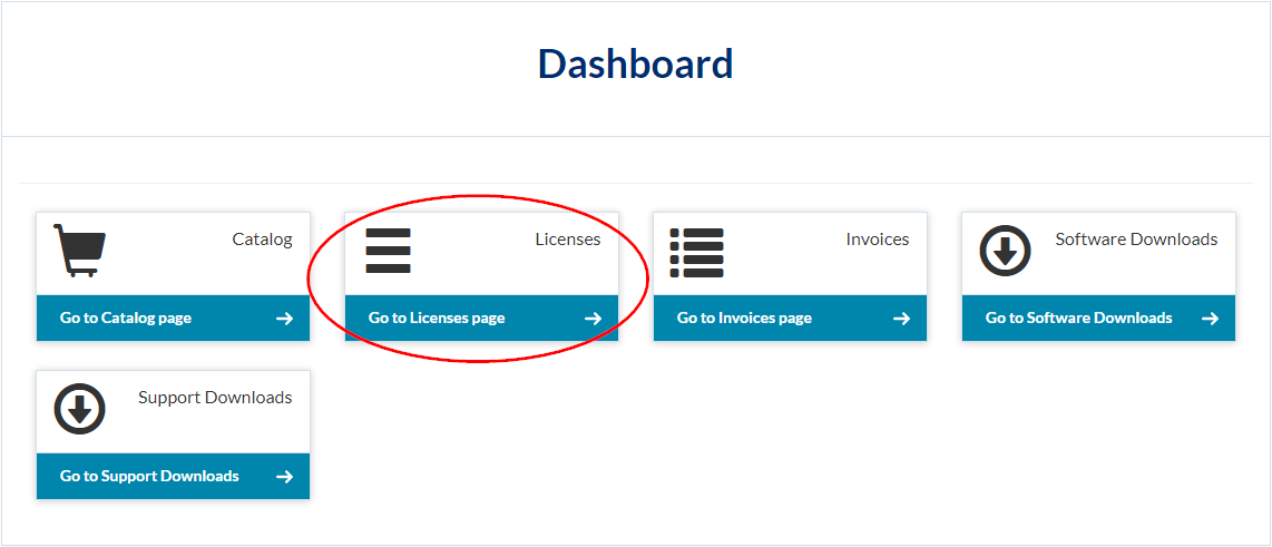 Option to go to the Licenses page on the Dashboard