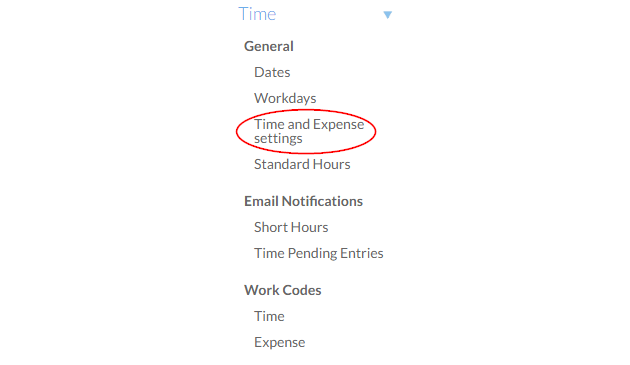 Select Time and Expense settings on the Settings page.
