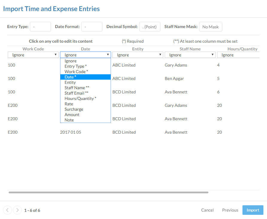 Selecting a column type in the Import Time and Expense Entries dialog.
