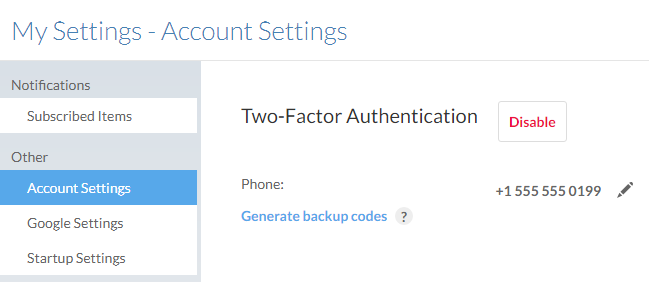 Option to generate backup codes after selecting Account Settings