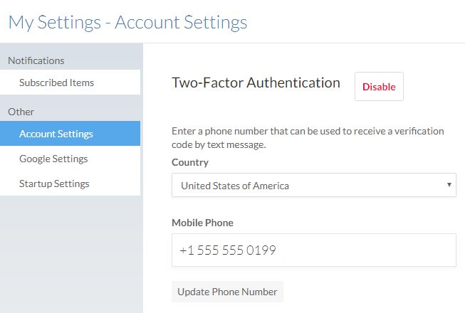 Two-factor authentication options in My Settings.