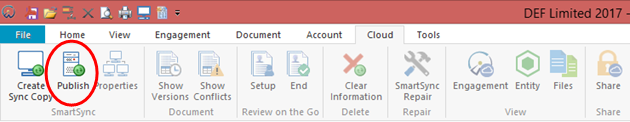 Click the Publish icon on left side of the Ribbon in the Cloud tab.
