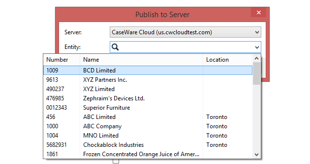 Select a Cloud entity for the Working Papers file.