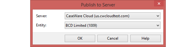 Click OK to publish the Working Papers file to your chosen Cloud entity.