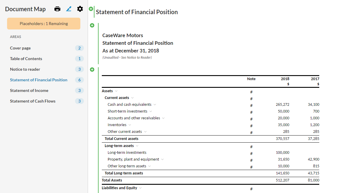Number of changes in each financial statement area displays next to the area title.