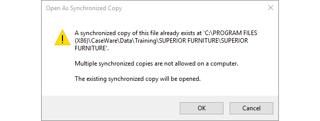 Error prompt if a sync copy already exists