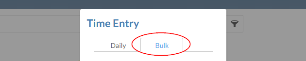 The Bulk tab in the Time Entry dialog.