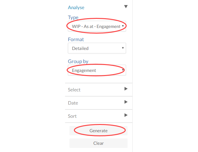 Type and Group By drop-down menu