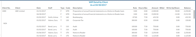 WIP report in detailed format sorted by client