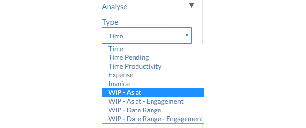 Selecting a WIP report type from the Type drop down menu in the Analysis app.