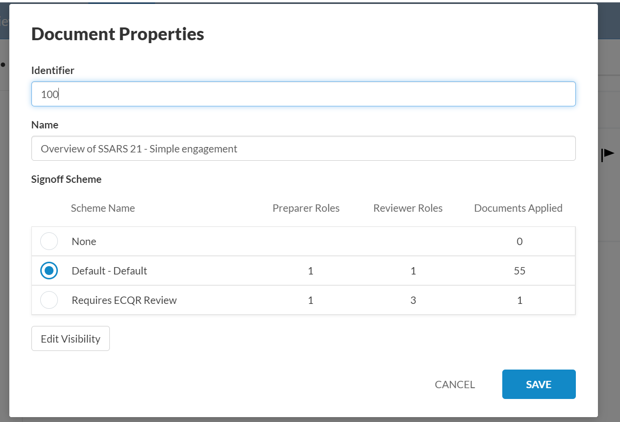 Sign-off Scheme option in the Document Properties dialog.