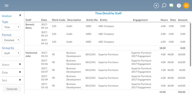 You can use the Analysis app to generate reports about the time entries and expenses in your firm.