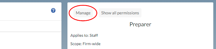 Selecting Manage in the Role Permissions dialog
