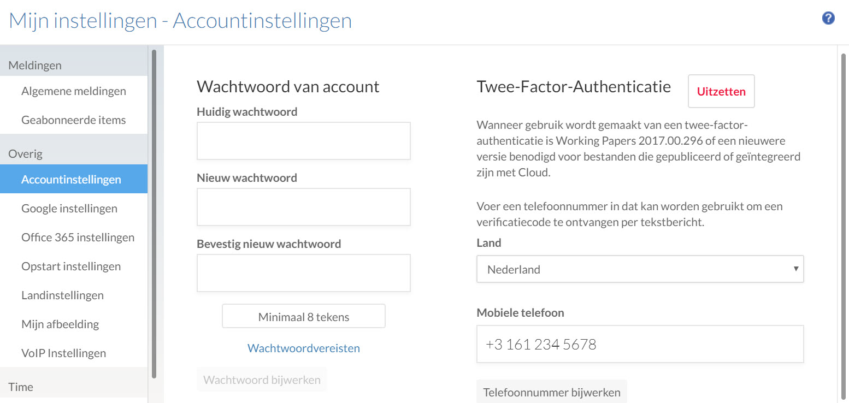 Opties voor twee-factor-authenticatie op de pagina Persoonlijke Instellingen.