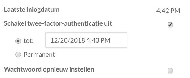 Beschikbare opties bij het uitschakelen van de twee-factor-authenticatie voor een bepaalde gebruiker.