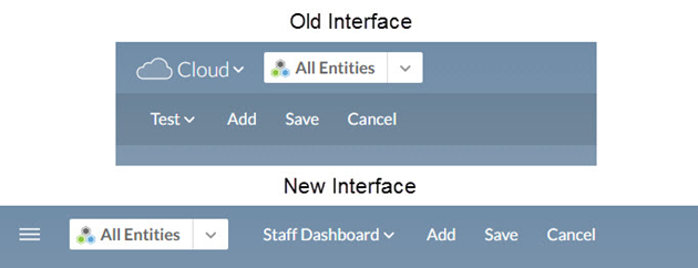 Old Interface and New Interface of the dashboard editor options