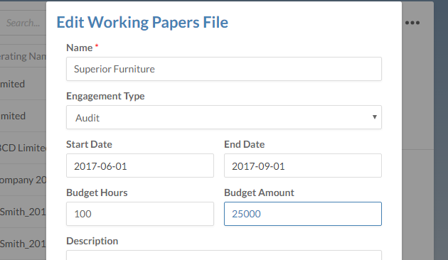 Edit Working Papers File - Start Date, End Date, Budget Hours, and Budget Amount