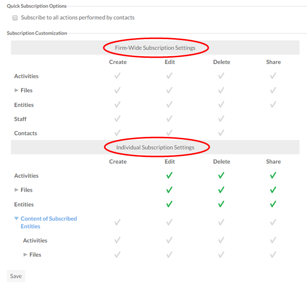 Firm-Wide Subscription Settings