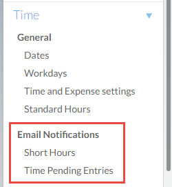 Email Notifications - Short Hours, Time Pending Entries